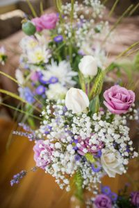 Purple, Pink and Baby's Breath Wedding Reception Flowers